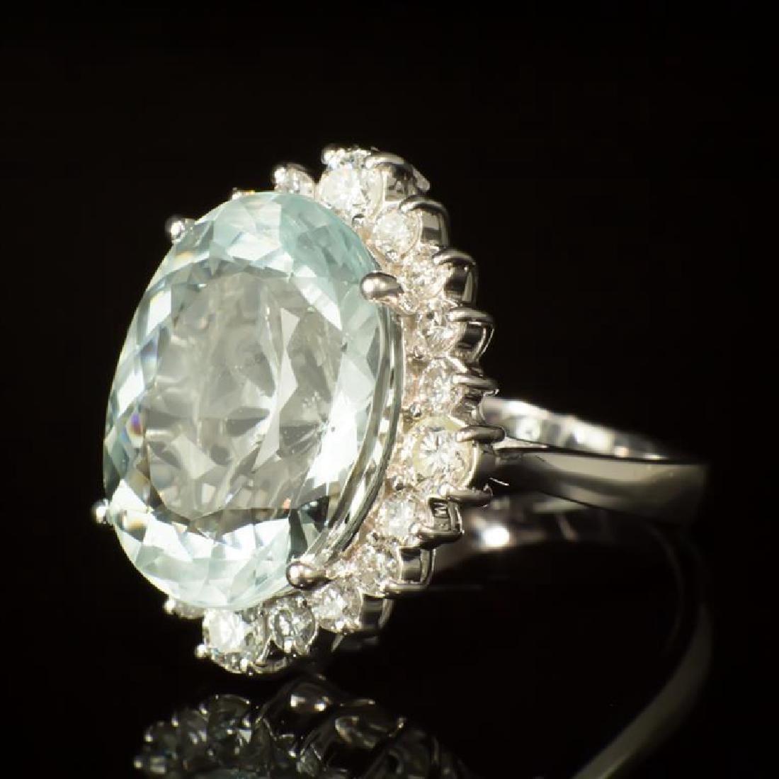 14K Gold 11.83ct Aquamarine 1.30ct Diamond Ring - 2