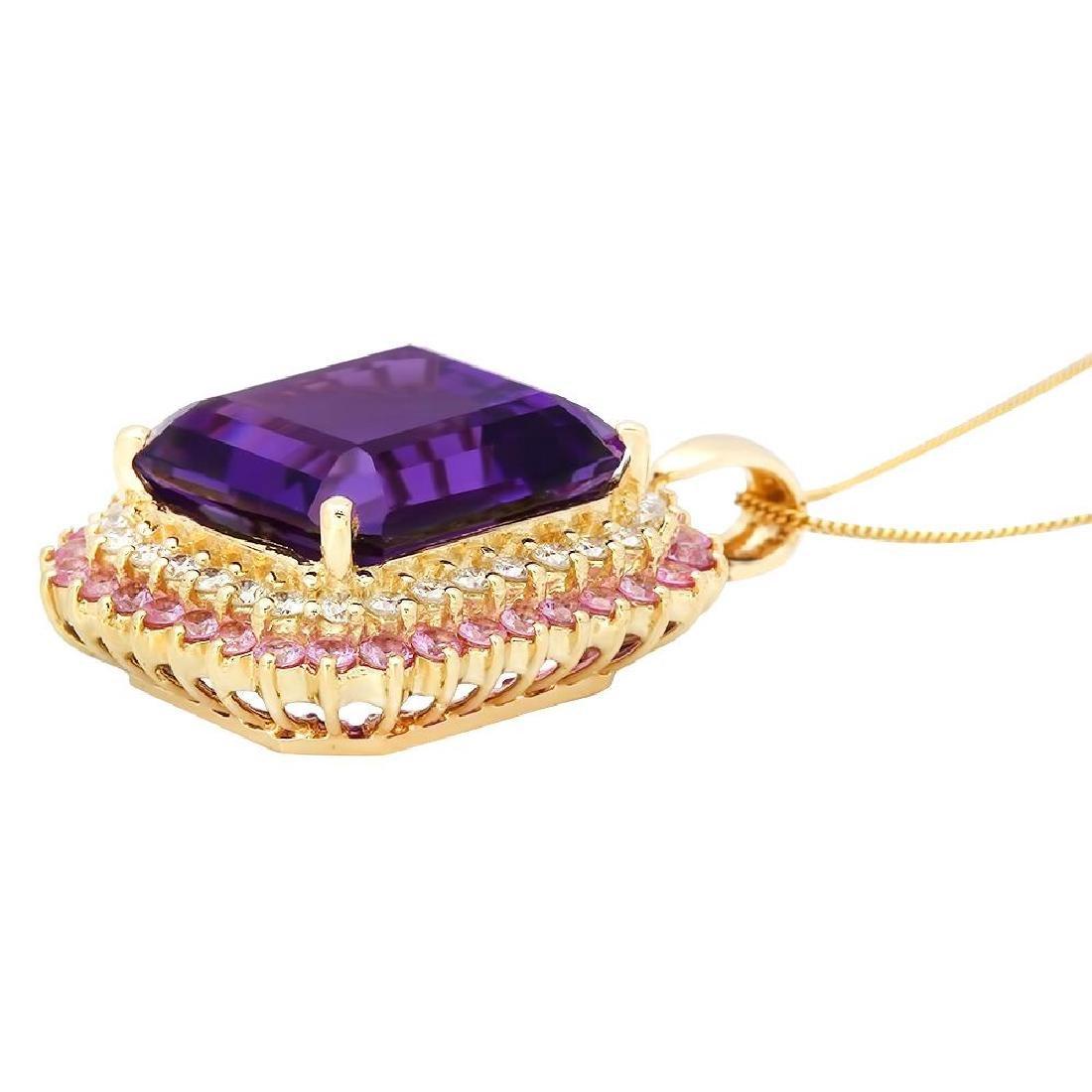 14K Gold 26.16ct Amethyst 2.05ct Sapphire 1.45ct - 2