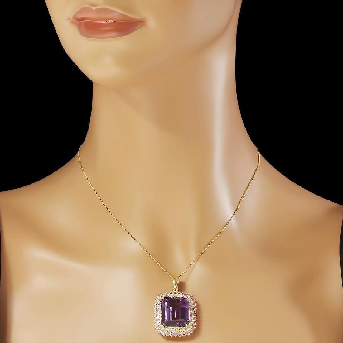 14K Gold 26.16ct Amethyst 2.05ct Sapphire 1.45ct - 3