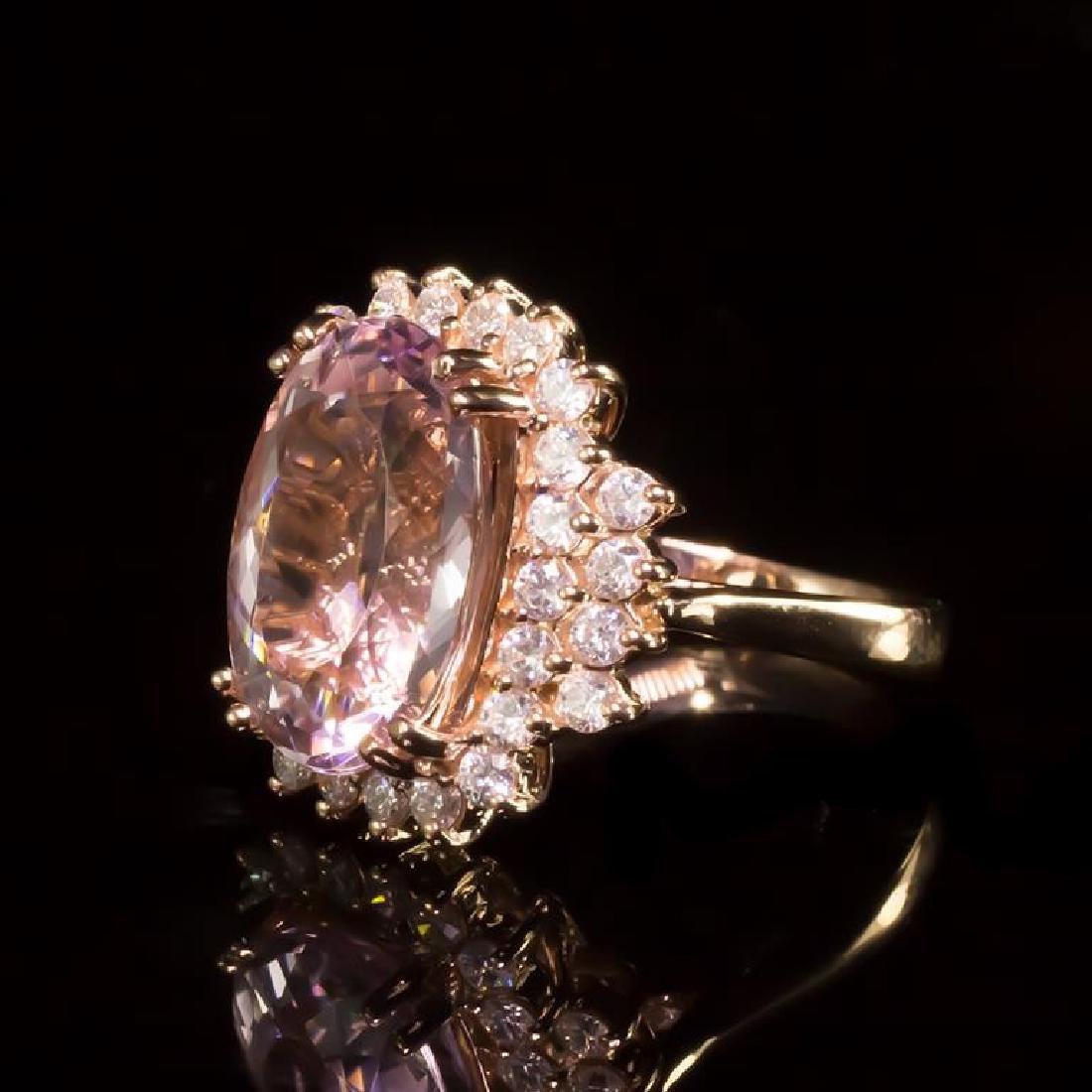 14K Gold 6.99ct Morganite 1.10ct Diamond Ring - 2