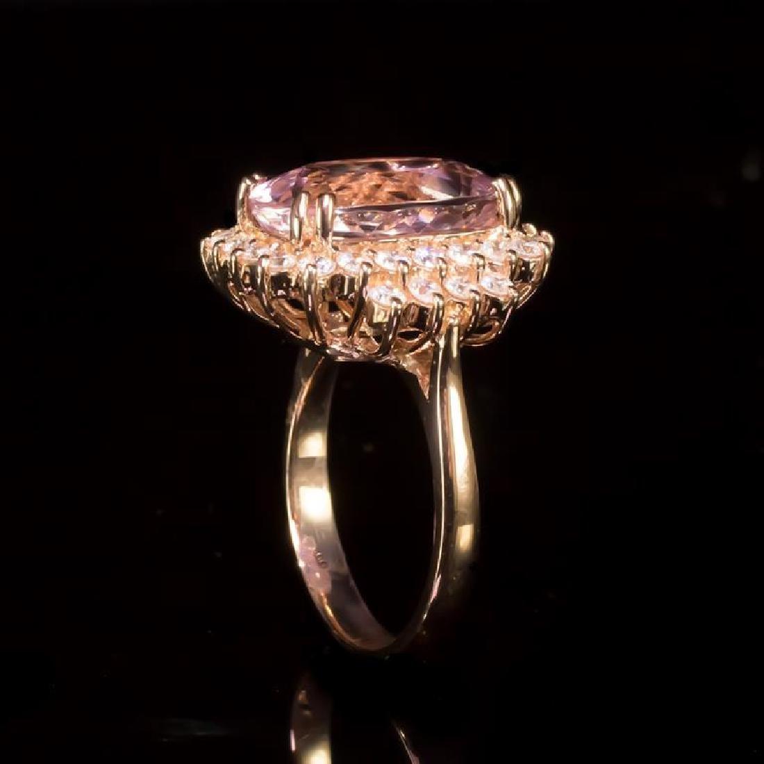 14K Gold 6.99ct Morganite 1.10ct Diamond Ring - 3