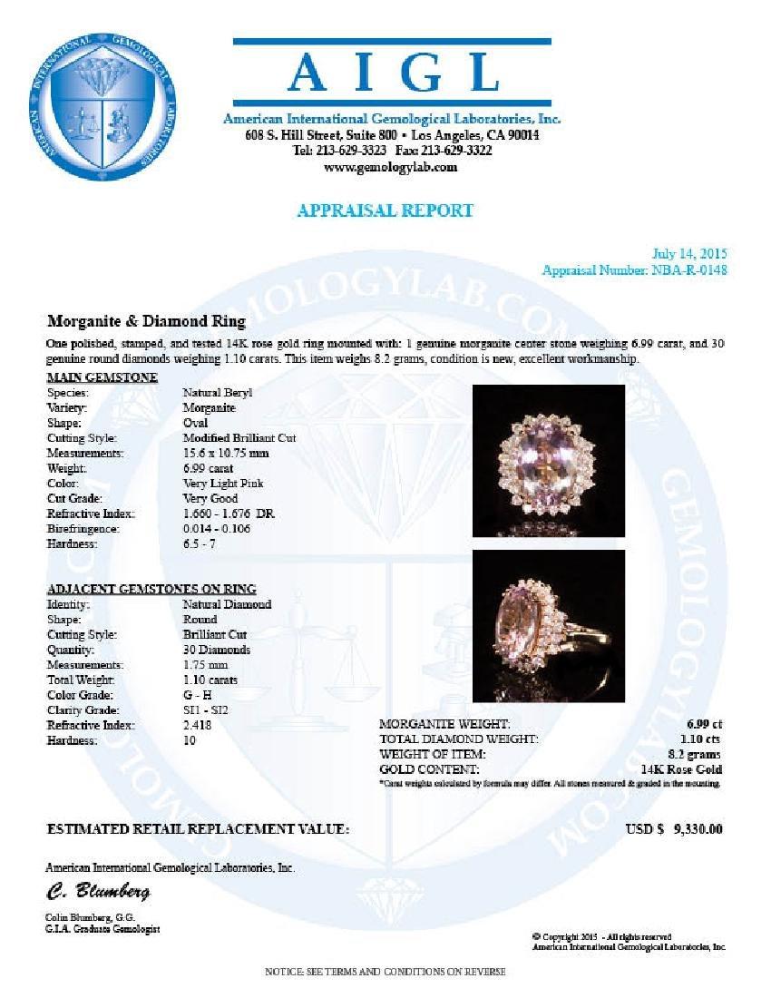 14K Gold 6.99ct Morganite 1.10ct Diamond Ring - 4
