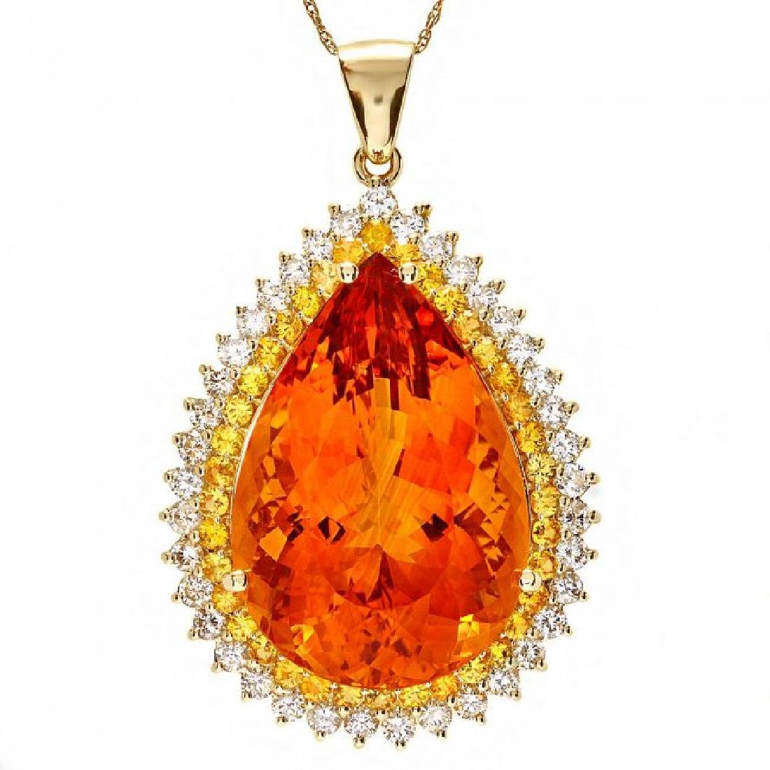 14k Gold 37ct Citrine 1.85ct Diamond Pendant - 2