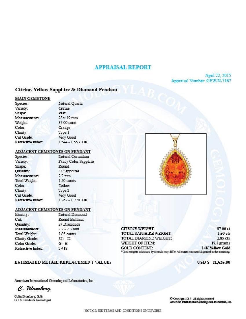 14k Gold 37ct Citrine 1.85ct Diamond Pendant - 5