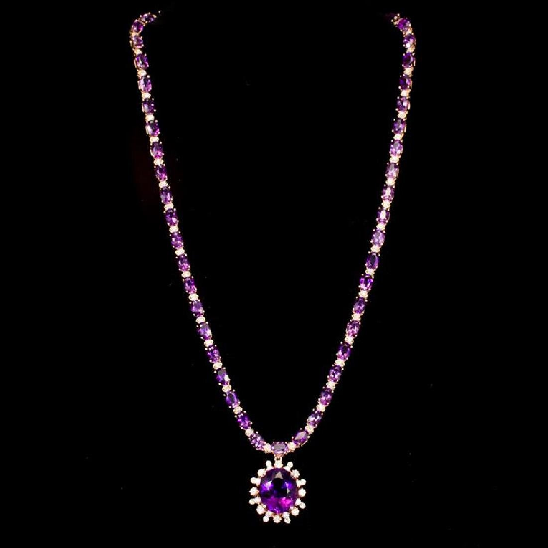 14K Gold 31.07ct Amethyst 2.45ct Diamond Necklace - 2