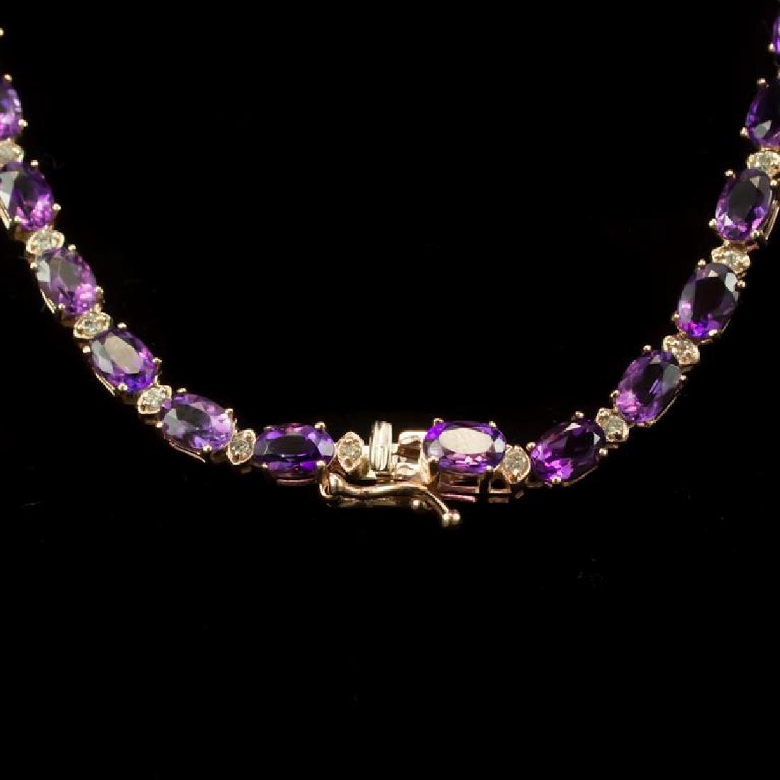 14K Gold 31.07ct Amethyst 2.45ct Diamond Necklace - 3