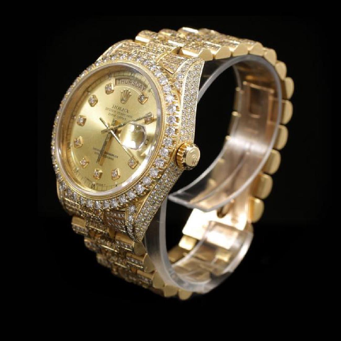 Rolex Day-Date 36mm Yellow Gold Mens Diamond Wristwatch - 2