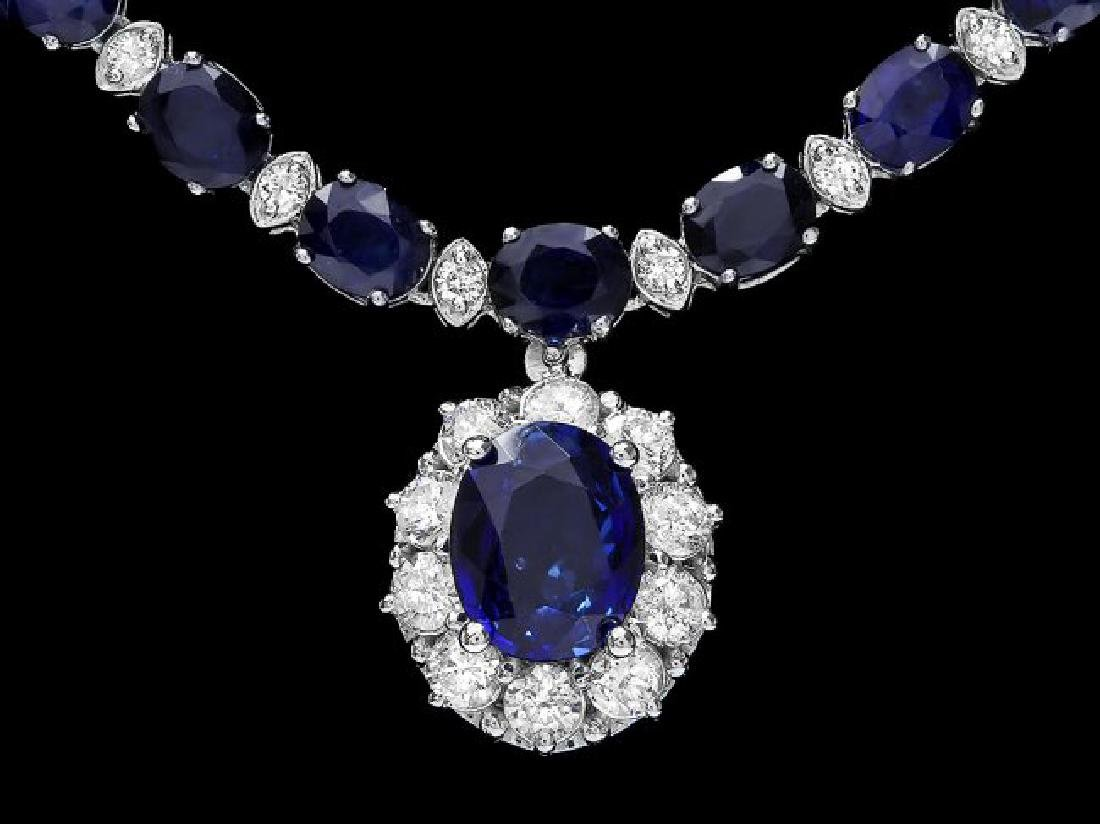 14k Gold 29ct Sapphire 2.25ct Diamond Necklace