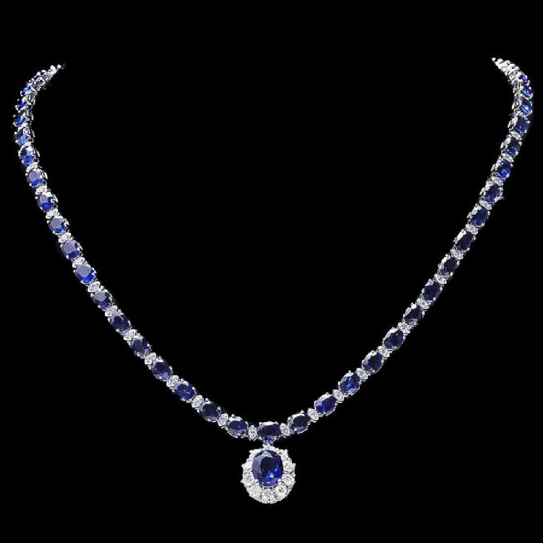 14k Gold 29ct Sapphire 2.25ct Diamond Necklace - 2