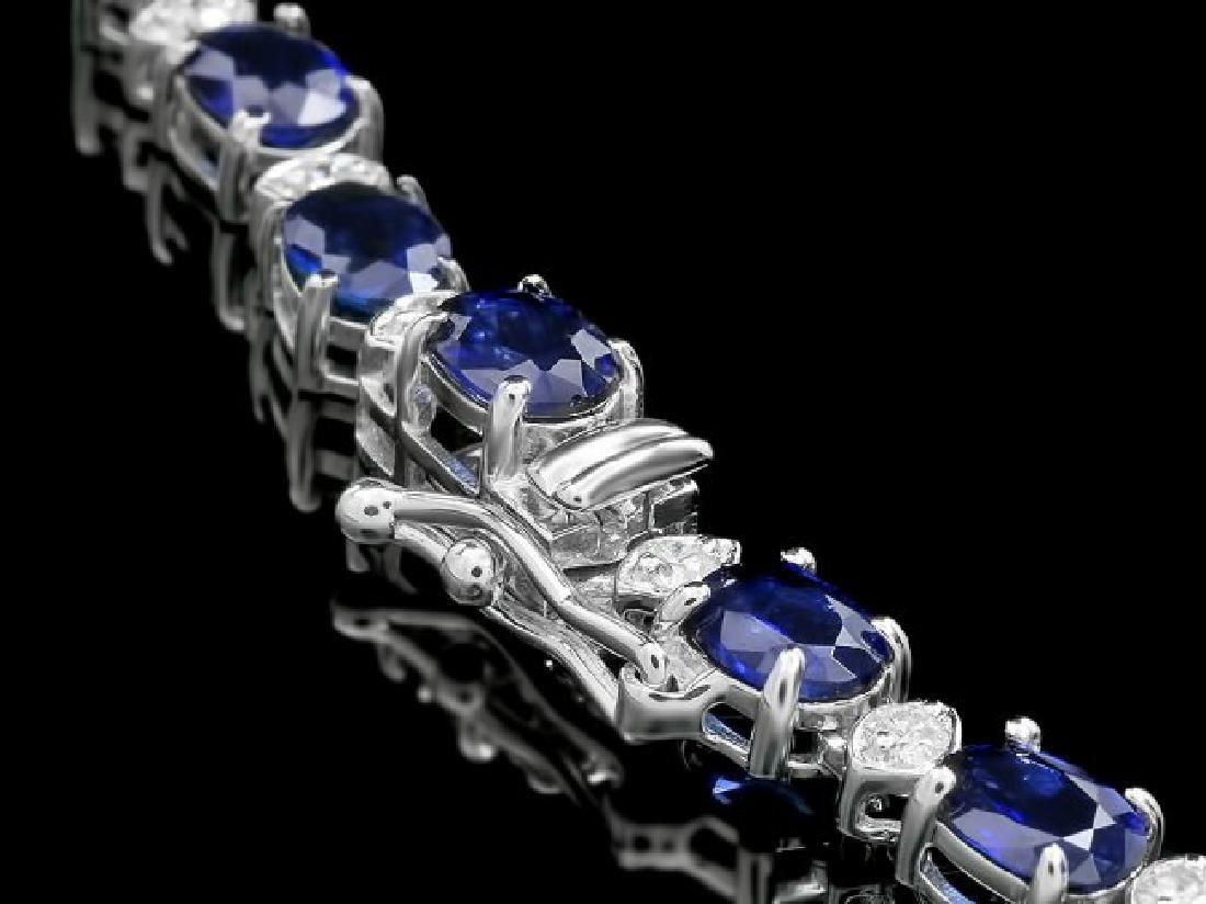14k Gold 29ct Sapphire 2.25ct Diamond Necklace - 3