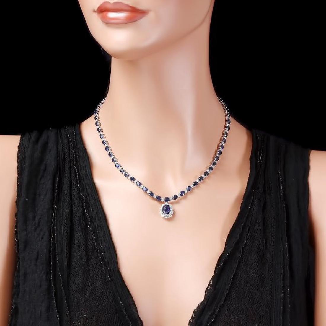 14k Gold 29ct Sapphire 2.25ct Diamond Necklace - 4