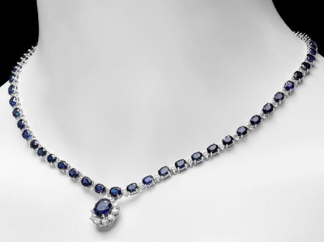 14k Gold 29ct Sapphire 2.25ct Diamond Necklace - 5