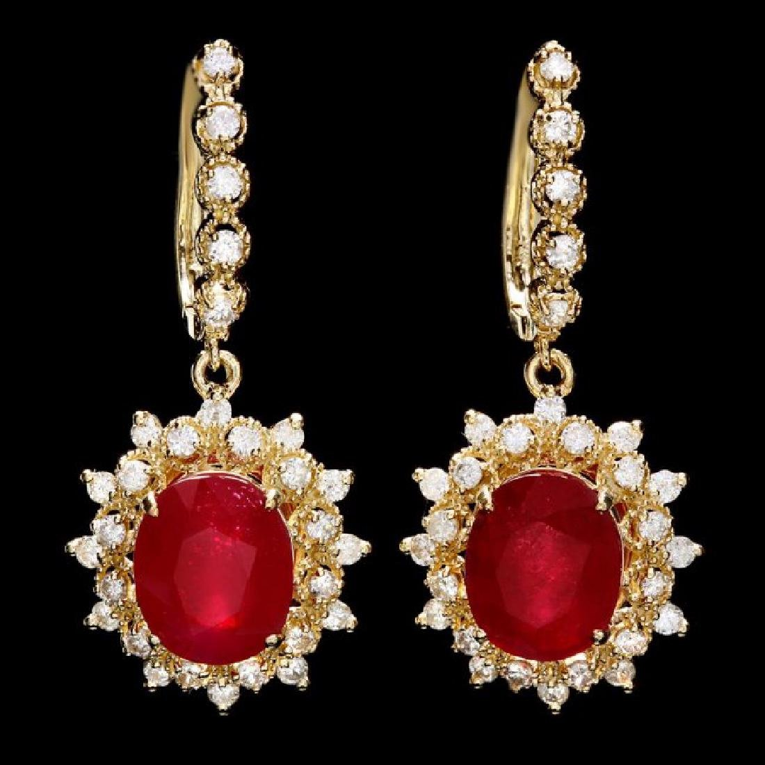 14k Gold 10.00ct Ruby 1.60ct Diamond Earrings - 3