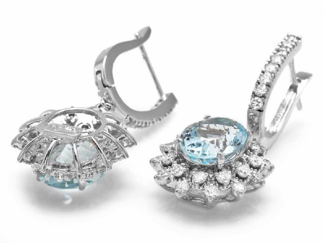 14k Gold 8ct Aquamarine 1.9ct Diamond Earrings - 2