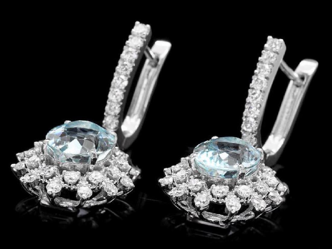 14k Gold 8ct Aquamarine 1.9ct Diamond Earrings - 3