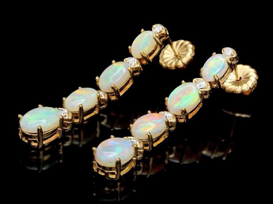 14k Gold 3.50ct Opal 0.35ct Diamond Earrings - 2