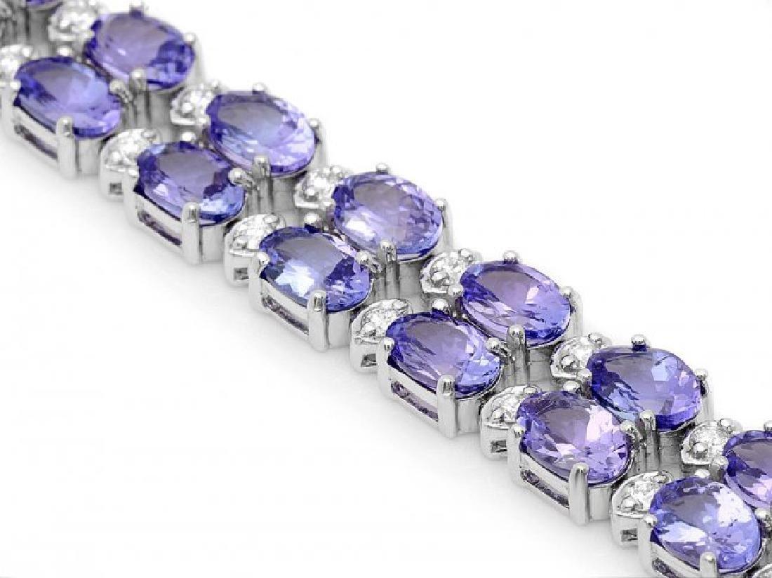 14k 20.00ct Tanzanite 1.30ct Diamond Bracelet - 2