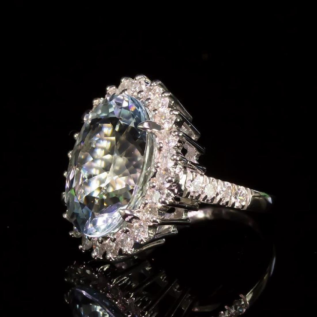 14K Gold 12.26ct Aquamarine 1.71ct Diamond Ring - 2