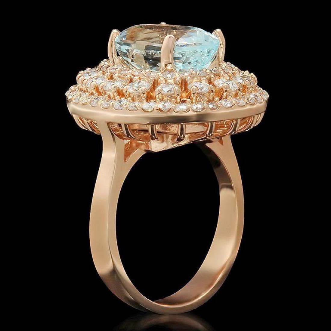 14K Gold 4.35ct Aquamarine 2.09ct Diamond Ring - 2