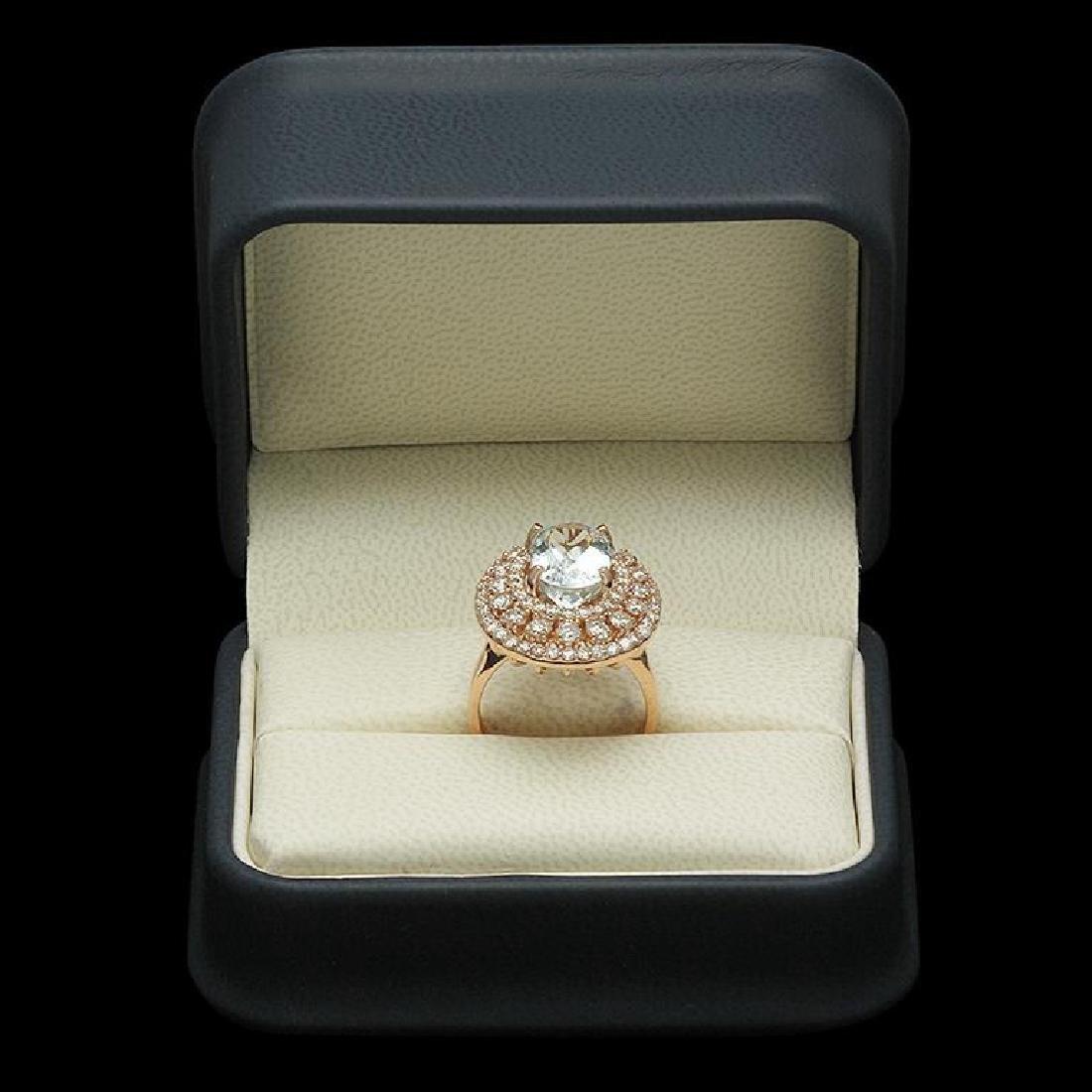 14K Gold 4.35ct Aquamarine 2.09ct Diamond Ring - 3
