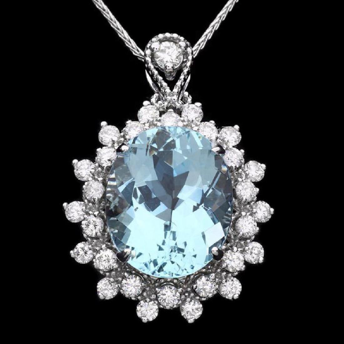 14k Gold 5.50ct Aquamarine 0.80ct Diamond Pendant