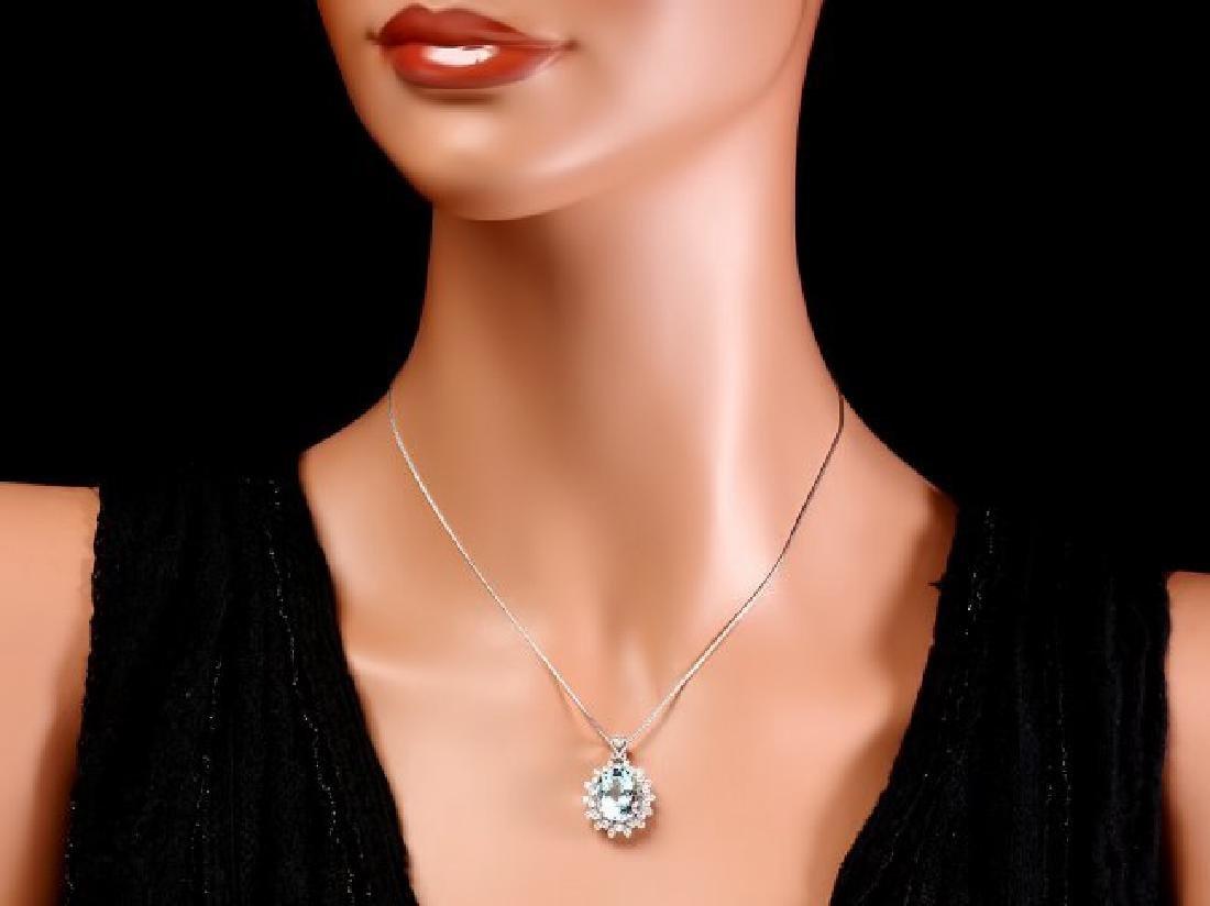 14k Gold 5.50ct Aquamarine 0.80ct Diamond Pendant - 3