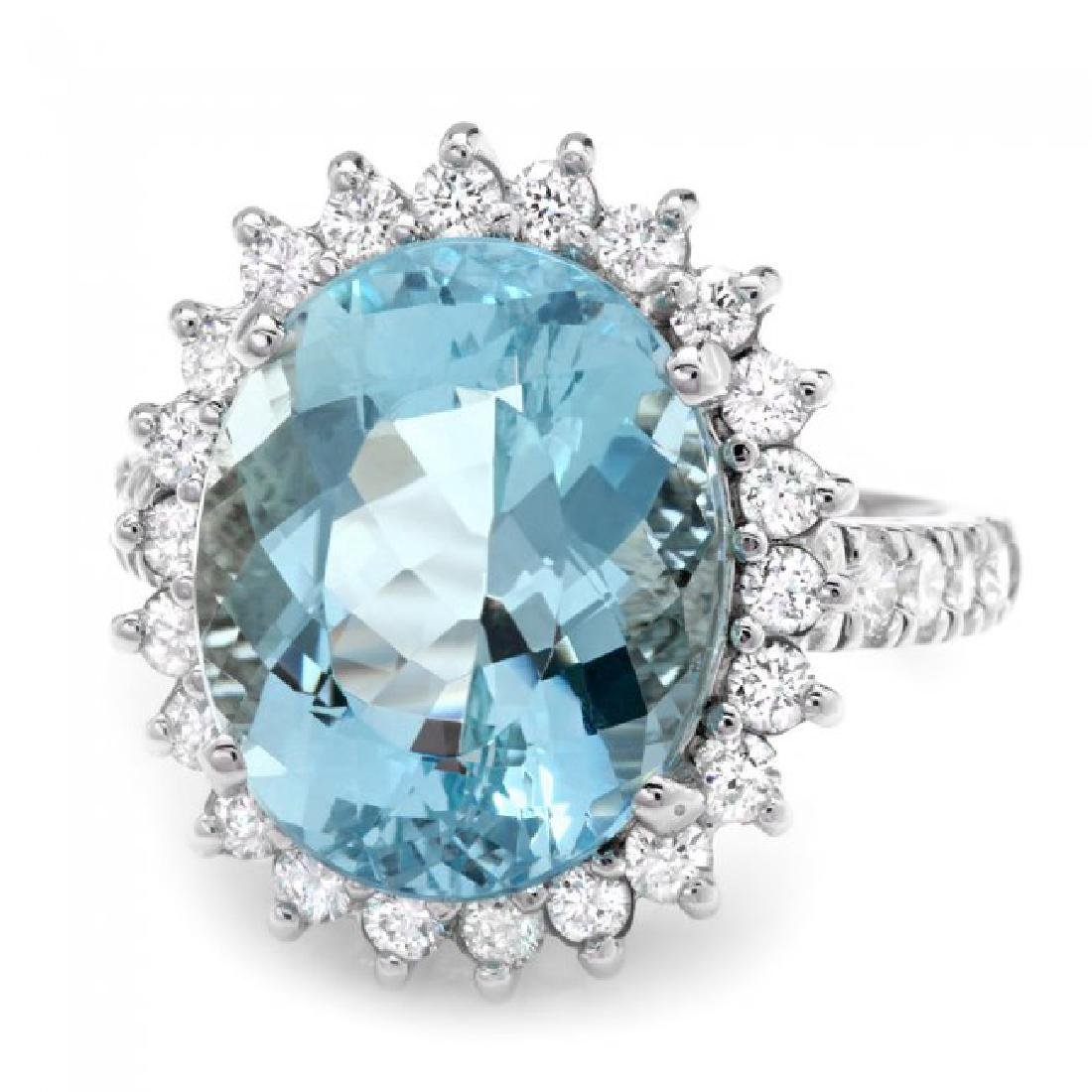 14k Gold 7.50ct Aquamarine 1.00ct Diamond Ring - 2