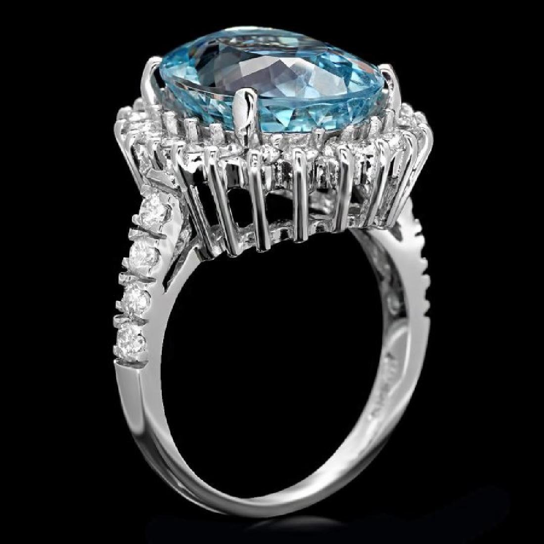14k Gold 7.50ct Aquamarine 1.00ct Diamond Ring - 3