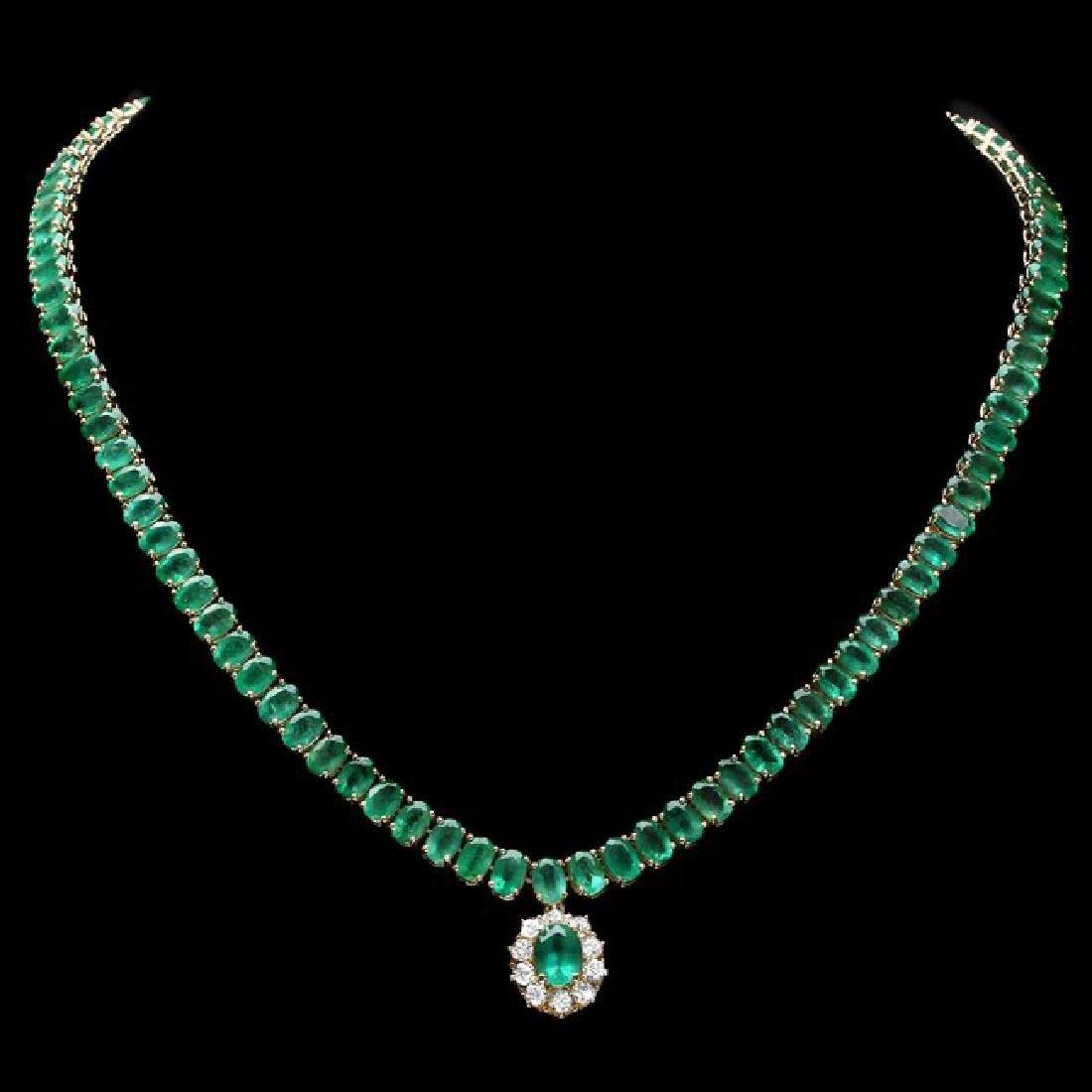 14k Gold 41.75ct Emerald 0.95ct Diamond Necklace