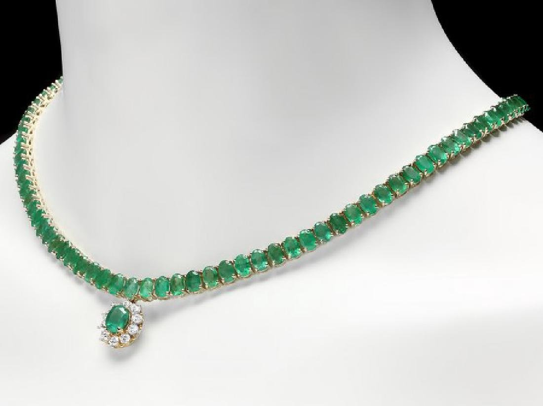 14k Gold 41.75ct Emerald 0.95ct Diamond Necklace - 2