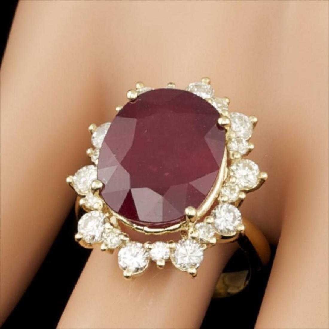 14k Yellow Gold 13.00ct Ruby 1.80ct Diamond Ring - 3
