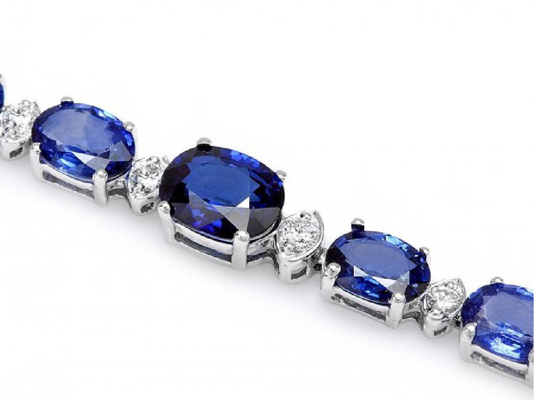 14k Gold 14ct Sapphire 0.65ct Diamond Bracelet - 2