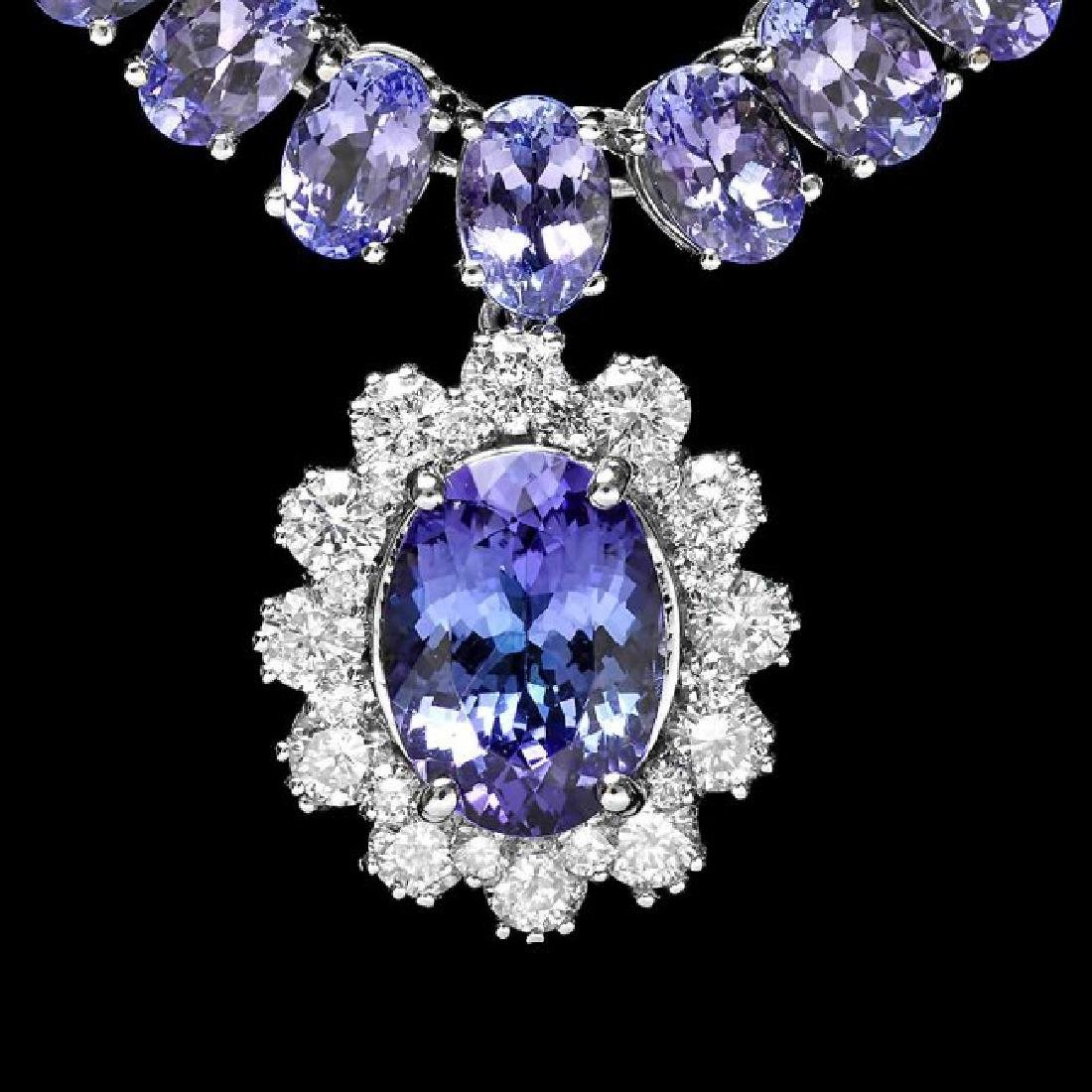 14k Gold 49ct Tanzanite 1.50ct Diamond Necklace