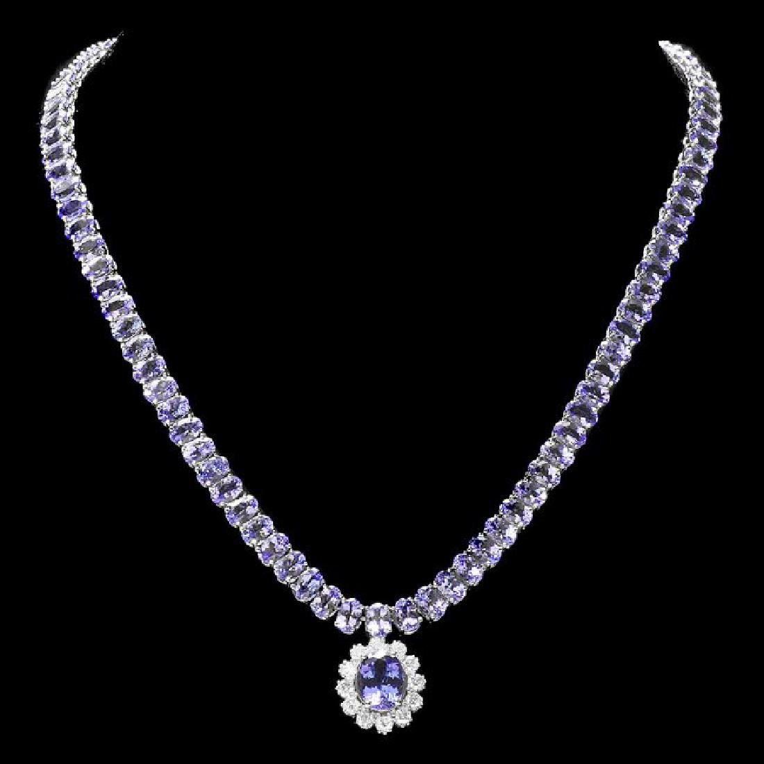 14k Gold 49ct Tanzanite 1.50ct Diamond Necklace - 2