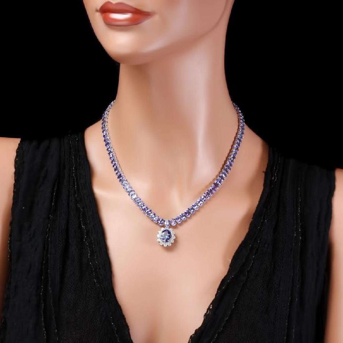 14k Gold 49ct Tanzanite 1.50ct Diamond Necklace - 4