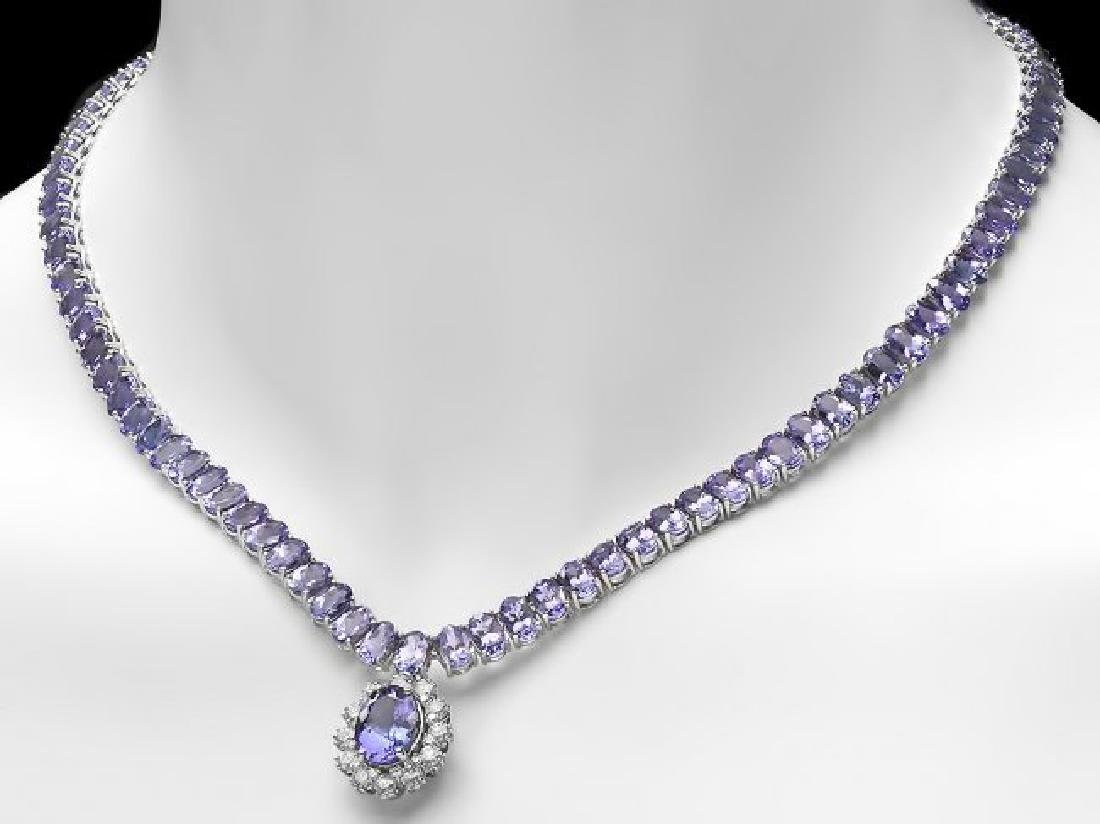14k Gold 49ct Tanzanite 1.50ct Diamond Necklace - 5