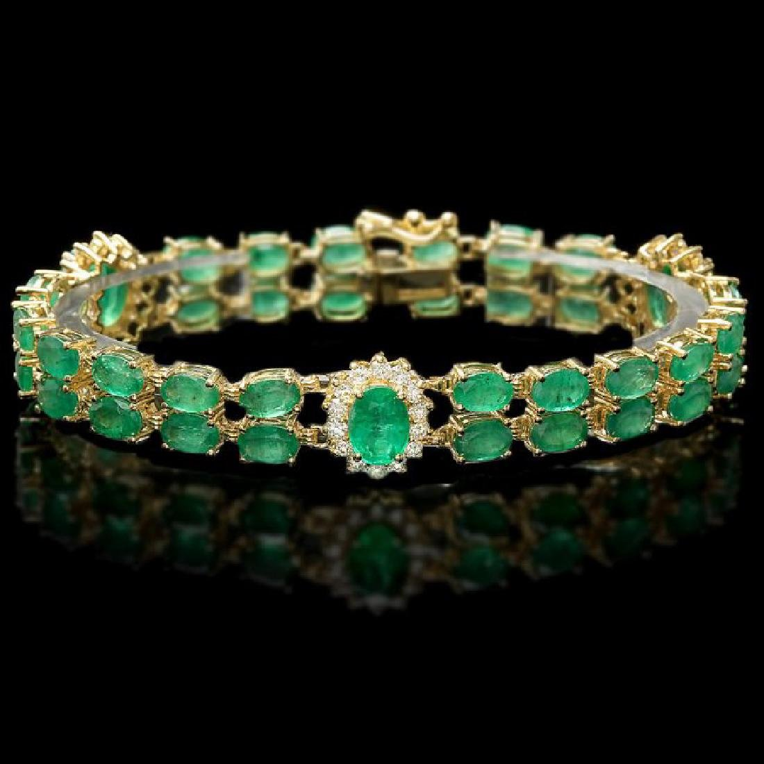 14k Gold 18ct Emerald 1.50ct Diamond Bracelet