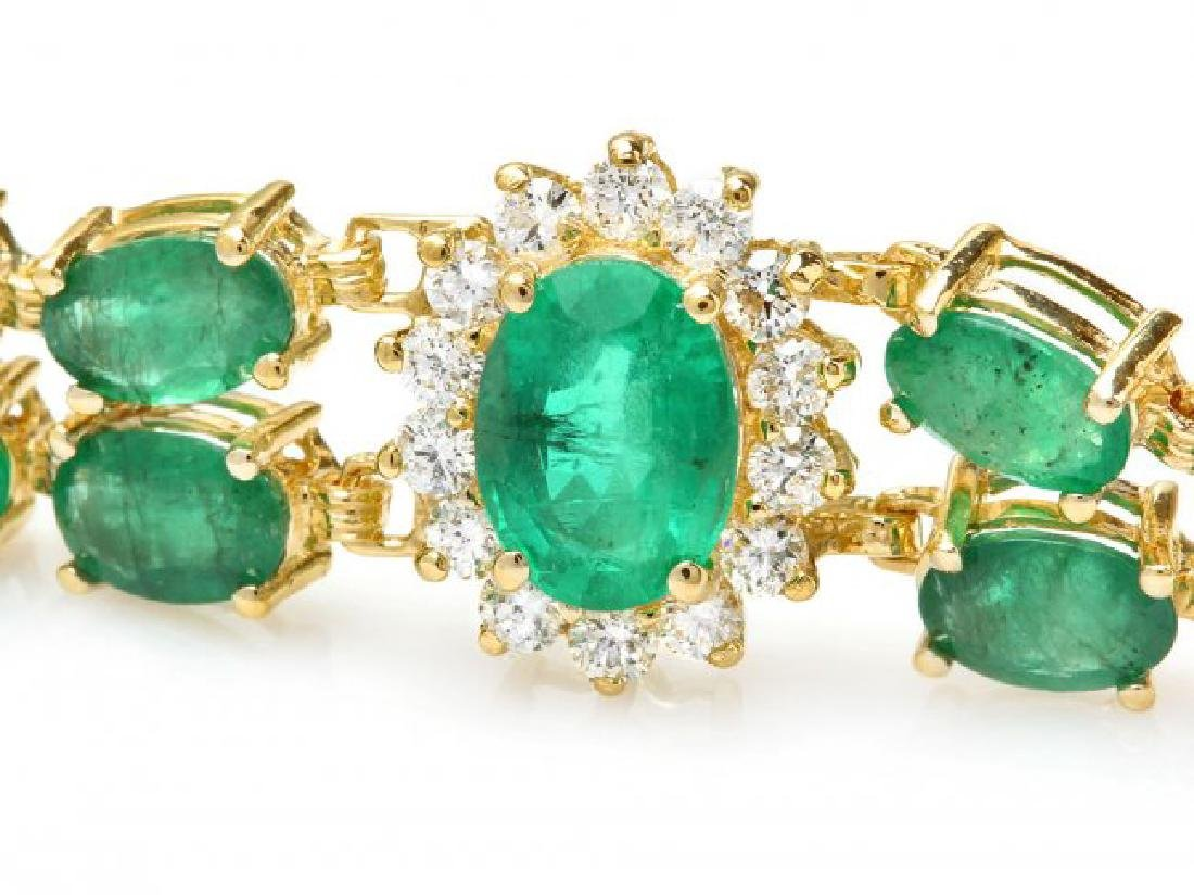 14k Gold 18ct Emerald 1.50ct Diamond Bracelet - 2