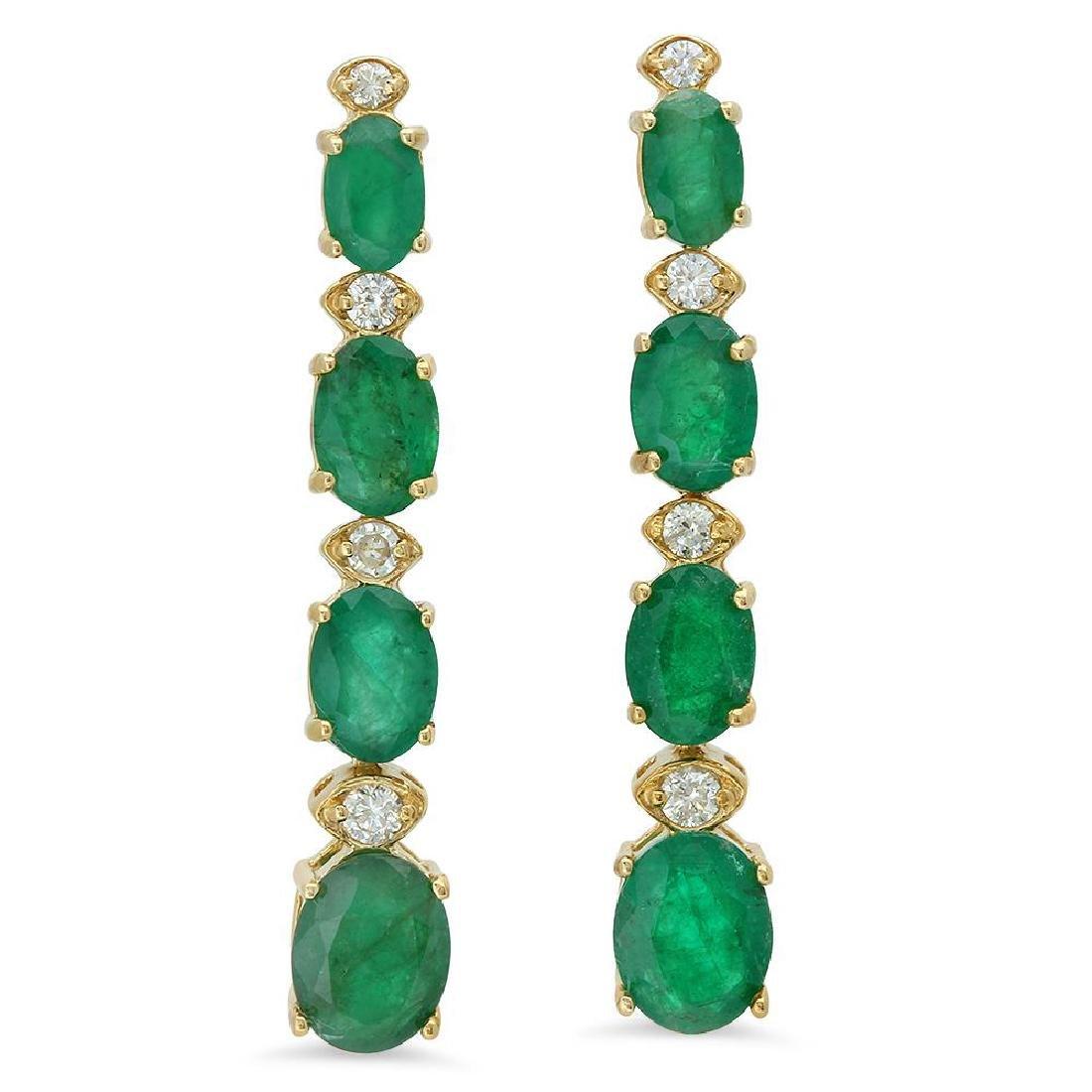 14K Gold 5.55ct Emerald 0.33 Diamond Earrings