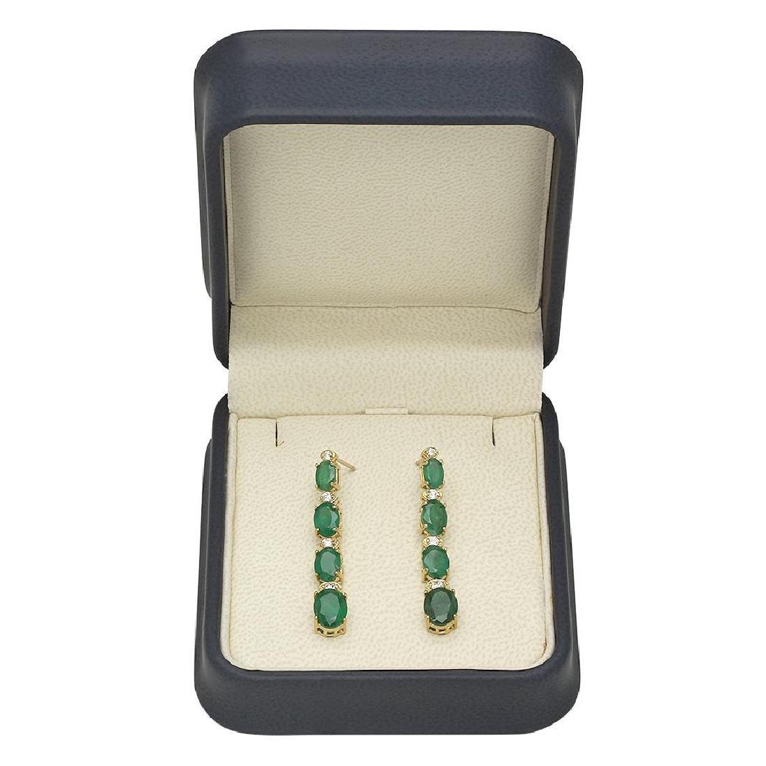 14K Gold 5.55ct Emerald 0.33 Diamond Earrings - 2