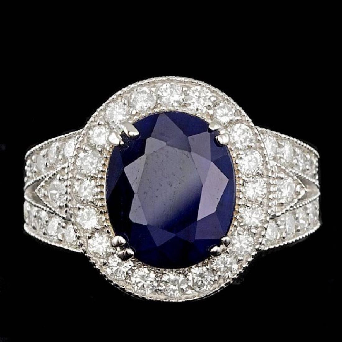 14k Gold 6.50ct Sapphire 1.60ct Diamond Ring