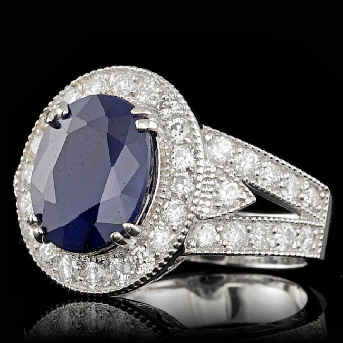 14k Gold 6.50ct Sapphire 1.60ct Diamond Ring - 2