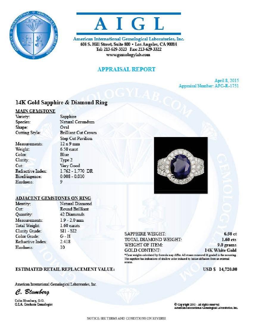 14k Gold 6.50ct Sapphire 1.60ct Diamond Ring - 5