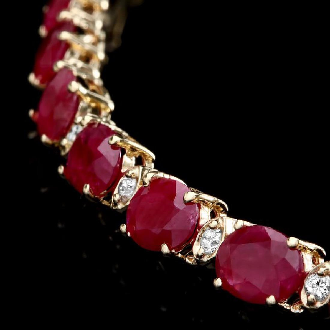 14k Gold 46.00ct Ruby 1.60ct Diamond Necklace - 2