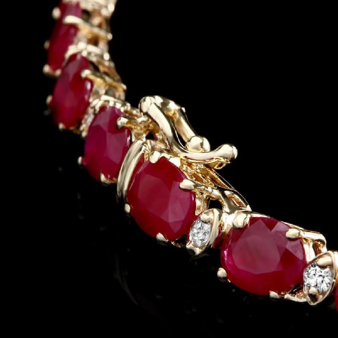 14k Gold 46.00ct Ruby 1.60ct Diamond Necklace - 4