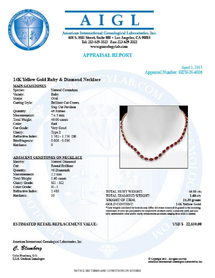 14k Gold 46.00ct Ruby 1.60ct Diamond Necklace - 5