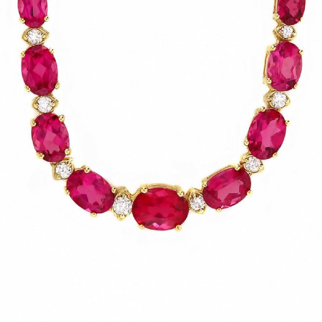 14k Gold 26ct Tourmaline 1.40ct Diamond Necklace - 2