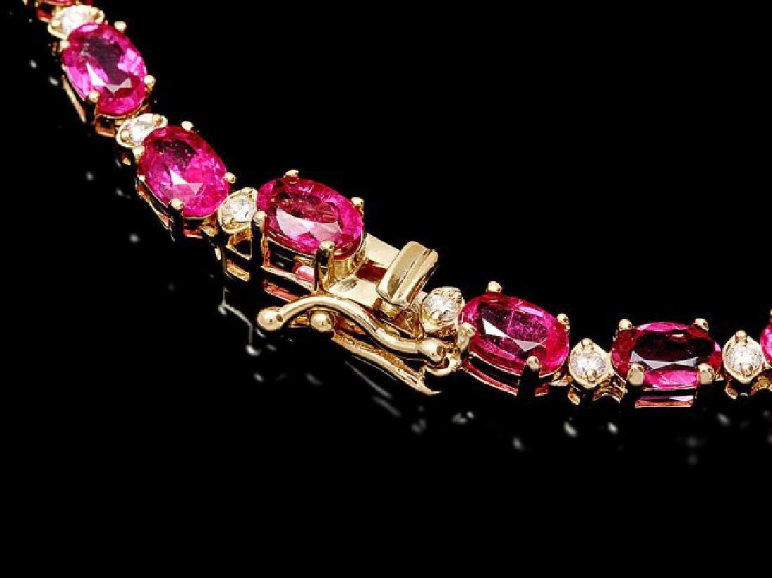 14k Gold 26ct Tourmaline 1.40ct Diamond Necklace - 3