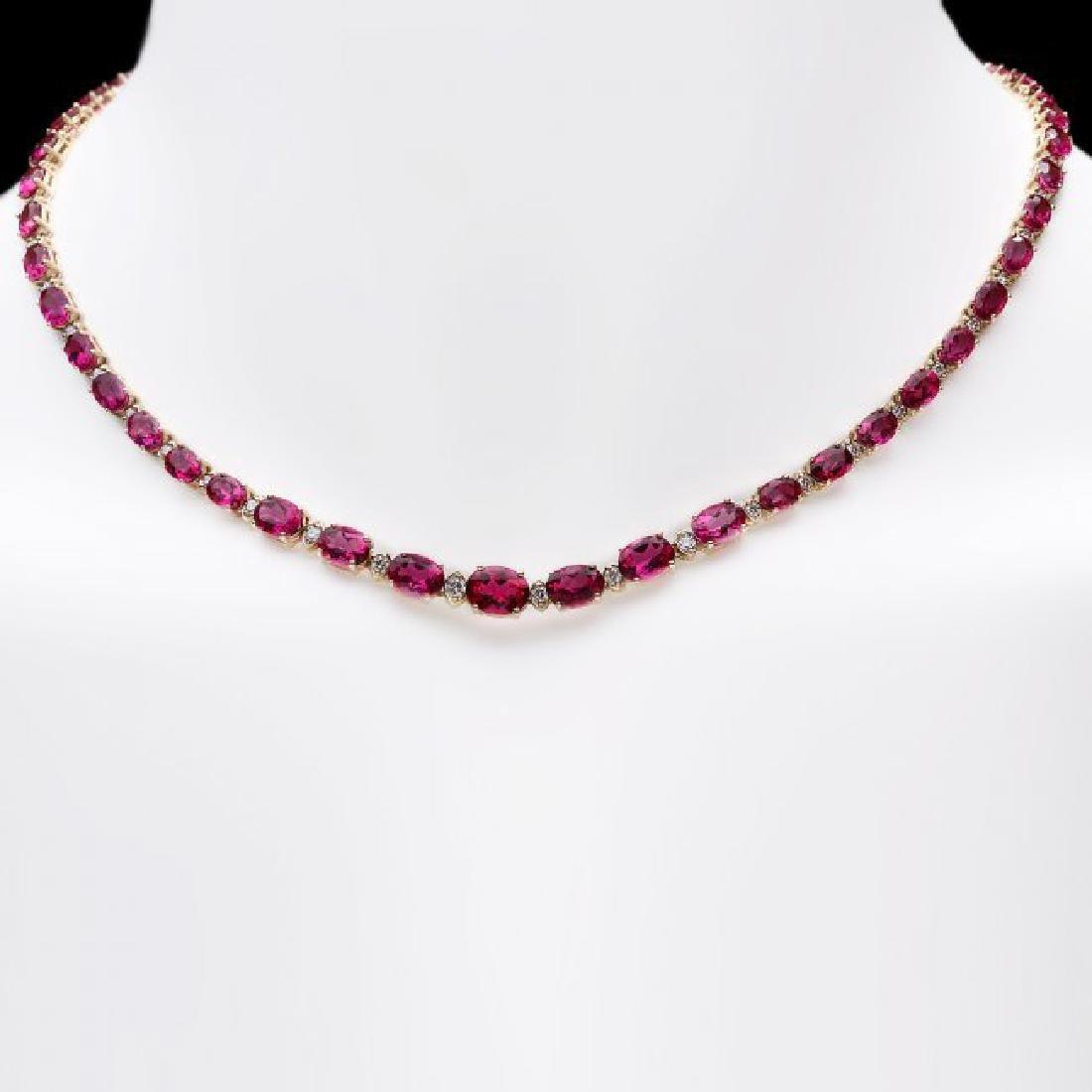 14k Gold 26ct Tourmaline 1.40ct Diamond Necklace - 6