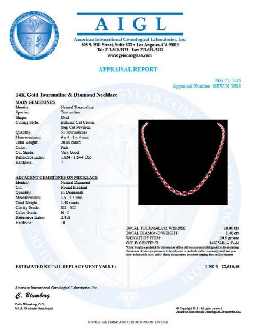 14k Gold 26ct Tourmaline 1.40ct Diamond Necklace - 7